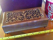 Gorgeous Wooden Music Trinket Box Wind Up Lador Switzerland Made