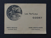 Ancienne carte de visite / carte parfumée PARFUMS GODET Sous-bois Paris Neuilly
