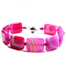 Pink BOTSWANA Agate Bracelet Women Handcrafted GEMSTONE Jewellery Tantric Tokyo