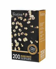 Festive Battery Operated Timer LED String Lights, Warm White, 200 bulbs