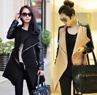 Women's Wool Blend Leather Long Sleeve Coat Lapel Zipper Jacket Overcoat Parkas