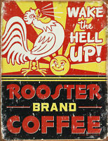Coffee Rooster Vintage Metal Sign Kitchen Picture Farmhouse Chicken Decor Gift