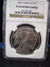 2001 P $1 BUFFALO NGC PF 69 ULTRA CAMEO  BRILLIANT PROOF free shipping