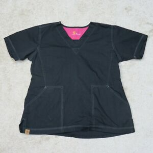 Carhartt Ripstop Scrub Top Womens M Medium Black V-Neck Nurse Uniform