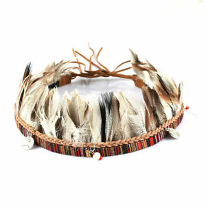 Cowboy Western Beaded Hatband Handmade Feather Men Women Beadwork Ethnic Flair