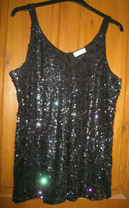 Sequinned  Multi Colour Evening Shoulder Strap Top  Size 18 by Yours London