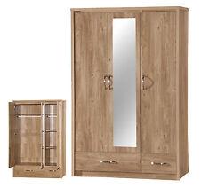 Warm Oak Laminate Bedroom Furniture Wardrobes Drawers Bedsides Dresser Stool 3 Door Wardrobe