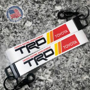 2-Pack of Toyota TRD Wrist Lanyard Key Fob Ring Keychain (White)