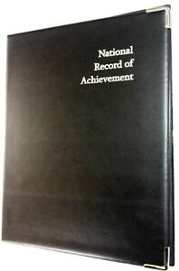 NATIONAL RECORD OF ACHIEVEMENT PVC FOLDER IN BLACK LEATHER LOOK - SILVER PRINT