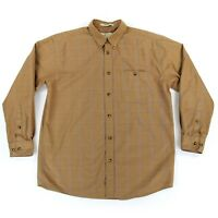 Orvis Mens Button Down Long Sleeve Casual Shirt Sz Large Tan Plaid Cotton EUC