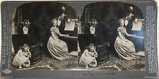 La Leçon de piano Photographie Stereo Vintage Argentique