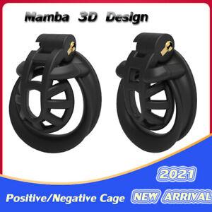 20213D Mamba Design Positive/Negative Cage Male Chastity Device Double-Arc Cuff