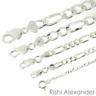925 Sterling Silver Figaro Mens Womens Chain Bracelet .925 Italy All Sizes