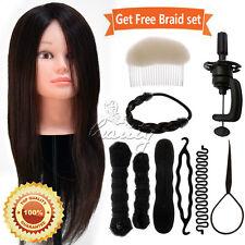 100% Real Human Hair Training Head Hairdressing Mannequin Doll + Braid Sets