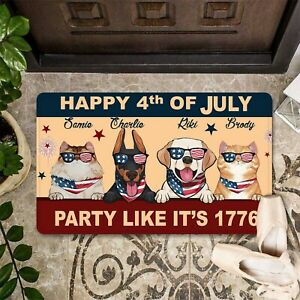 Personalized Pets Happy 4th Of July Welcome Home Doormat 4th July Gift Ideas