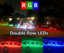 Double RoW 4x LED Wheel Rings Lights IP68 RGB Color Change Bluetooth Controlled
