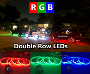 "Double Row 4x LED Wheel Rings Lights 15.5"" RGB Color Change Bluetooth Controlled"