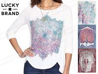 Womens LUCKY BRAND 3/4 Sleeve Scoop Neck Graphic Tee T-SHIRT SLIGHT HI-LOW HEM