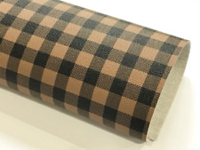 Brown Black Plaid Leatherette Sheet 0.8mm Thickness A4 Size Faux Leather Fabri