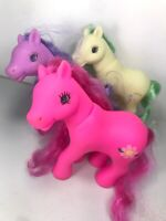 My Little Pony Fakies Bead Eyed Mixed Lot of 3 Stamped L-04 8A Green Purple Pink