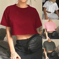 Women Female Tank Top Blouse Short Sleeve Brief Crop Top T-Shirt Cami Vest