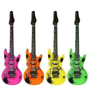 1 - 20 x INFLATABLE GUITAR BLOW UP FANCY DRESS PARTY MUSICAL INSTRUMENT 55 cm