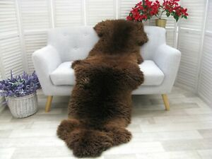 Real BRITISH DOUBLE Sheepskin Rug Hide Brown Soft Sofa FLOOR Bed Cover D31