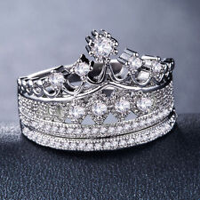 Fashion Queen Crown 925 Silver,gold,rose Gold Ring White Sapphire Ring Size 6-10