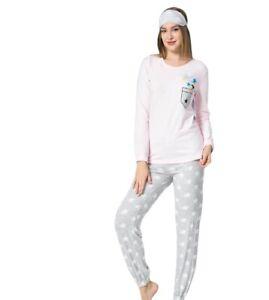 Damen Pyjama Set Lang Arm Schlafanzug Nachtwäsche 2-Teiler 92% Baumwolle 2130