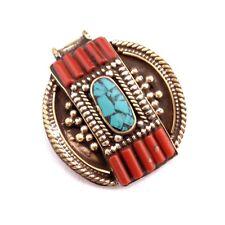 Turquoise Coral Brass Pendant Tibetan Nepalese Handmade Tibet Nepal PD715