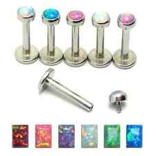 New 16g Surgical Steel Internally Threaded Opal Stone Tragus Cartilage Bar Stud
