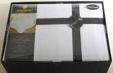 King 600TC White Stripe Duvet Cover & Pillow Case Set Pima Dell'Arte Luxury B3E