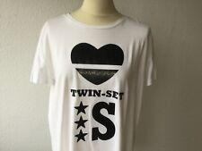 TWIN-SET Shirt T-Shirt Gr. M KA weißschwarzer Aufdruck oversize Baumw. Damen