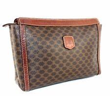 100%Auth CELINE Paris Brown Macadam Canvas Leather ladies Clutch hand Bag Italy