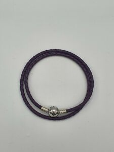Sterling Silber Pandora Lila Leder Armband 38cm