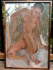 NUDE Haitian Artist CARLO JEAN JACQUES Original PAINTING Signed LISTED 35x23 Art