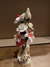 Vintage Shell Sculpture Flower Bouquet in Vase Seashell Art Figurine Souvenir