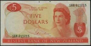 New Zealand Queen Elizabeth II. $  5 Banknote 1977-81 #p165