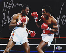 Sugar Ray Leonard Tommy Hearns Dual Signed 8x10 Photo - Dance Beckett BAS