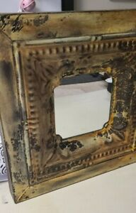 Rustic Metal Frame Distressed Wall Mirror.  Yellows, Browns & Metal Colors