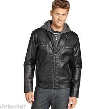 CALVIN KLEIN Black Faux Vegan Leather Hooded Motorcycle Bomber JACKET Men's XXL