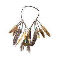 Boho Leaf Feather Beaded Headband Indian Headdress India Tribal Hair Bands