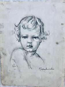 Portrait of a Child Pencil Drawing-1938- Eleanor Modrakowska