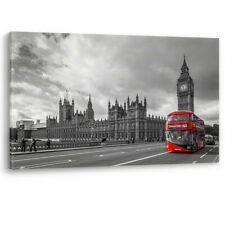 Red Bus Parliament Big Ben in London Luxury Canvas Wall Art Large Picture Print