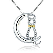 Moon Cat 925 Sterling Silver Charm Pendant Clear CZ Necklace