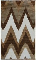 Chevron Modern Moroccan Hand-Knotted Area Rug Home Decor Brown/Ivory Carpet 5x8