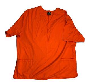 Natural Uniforms Natural Comfort Unisex XL Scrub Top Shirt Orange Short Sleeve