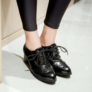 Women Lace Up Heels Retro Mid Chunky Heel Ladies Faux Leather Preppy Style Shoes