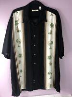 Men's Campia Moda Hawaiian Shirt Short Sleeve Button Front Size XL Black