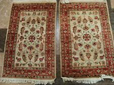New Ivory Flowers Medallion Hand Knotted Rug Wool Silk Carpet Pair (3 X 2)'